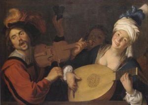 Gerard van Honthorst (1590-1656) Les chanteurs (Homme violoniste et prostituée luthiste, buveur), milieu du XVIIe siècle Musée des Beaux-Arts, Lyon