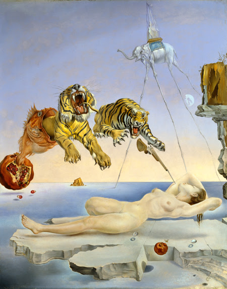 Salvador Dalí. Dream caused by the Flight of a Bee Around a Pomegrate one second before awakening, c. 1944. © Salvador Dalí, Fundació Gala-Salvador Dali, VEGAP, Barcelona, 2018.