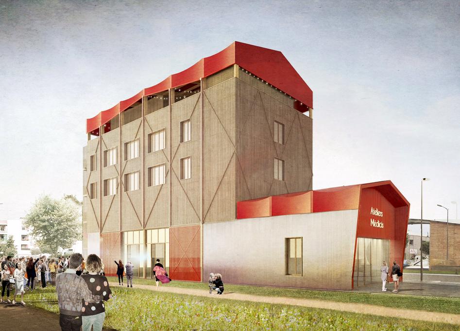 Premier bâtiment des Ateliers Médicis - esquisse © Collectif Encore Heureux