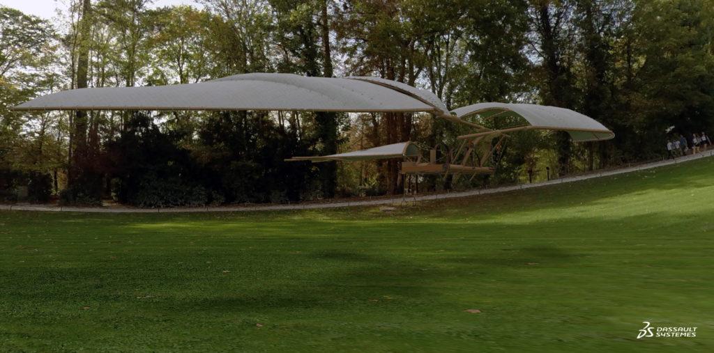 """La machine volante (aussi connue sous le nom de """"ornithoptère."""") Invention inspirée du vol d'animaux ailés comme les chauves-souris."""
